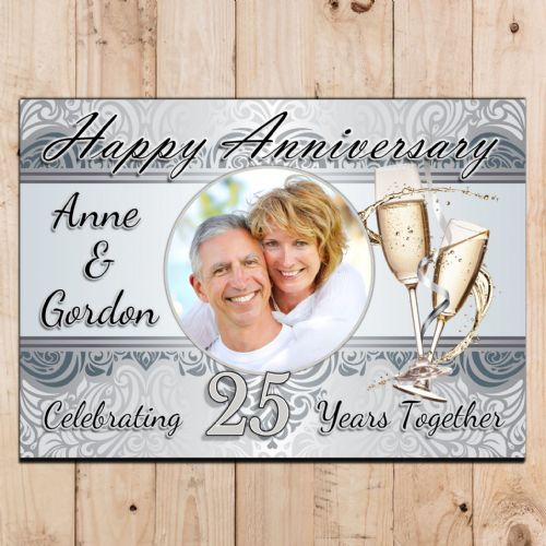 Personalised Silver 25th Wedding Anniversary Party PHOTO Poster N55